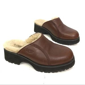 UGG | Brown Shearling Lined Clogs Size 8
